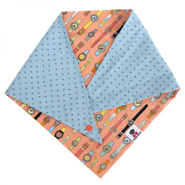 Furbulicious pet dog bandana in blue and orange with watches