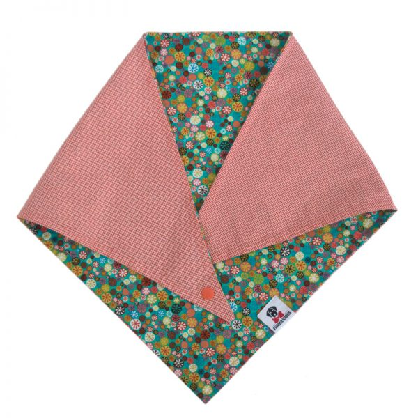 reversible snap pet dog bandana with flowers