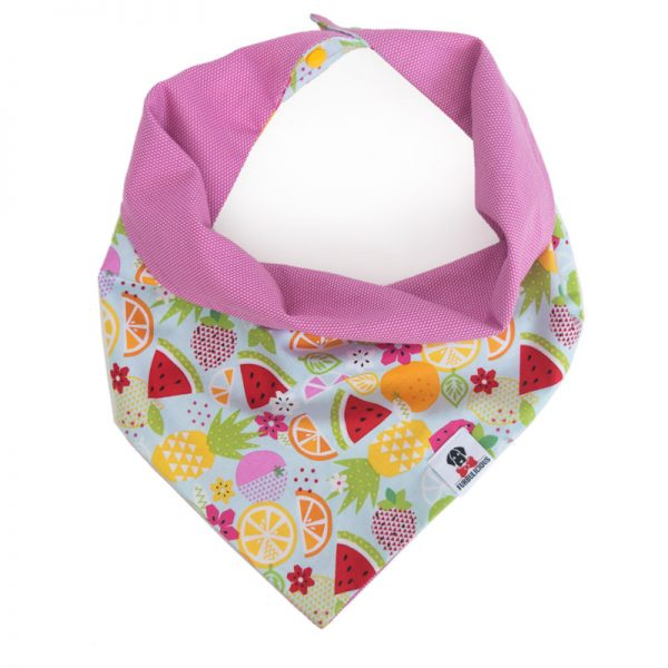 Furbulicious pet reversible dog bandana pink fruits