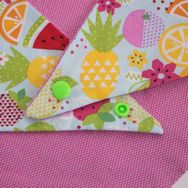 Furbulicious pet reversible dog bandana pink fruits
