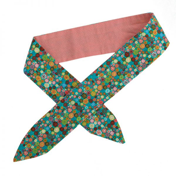 Furbulicious match your pet set in coral green flowers bandana and scarf