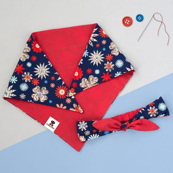 Furbulicious match your pet set in red and blue flowers