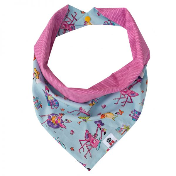 Furbulicious Pet Dog Bandana in Pink and Blue with Flamingo