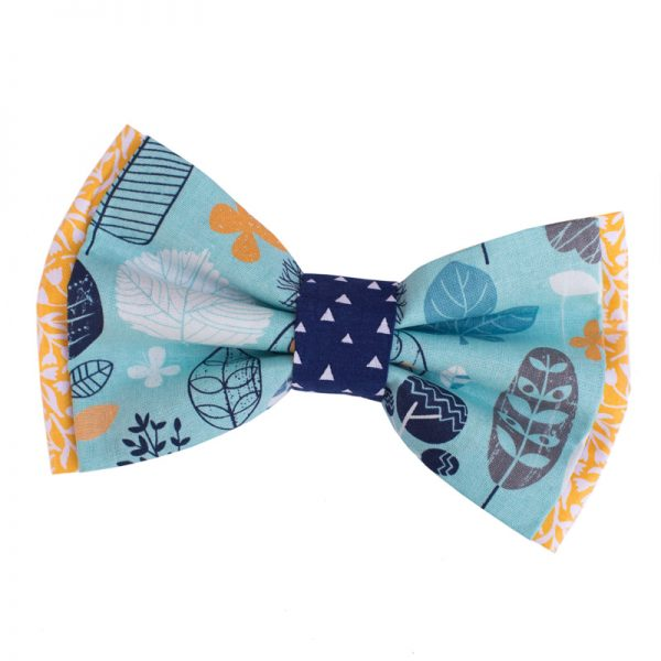 Furbulicious Pet Dog Accessories Bow Tie Blue Forrest Yellow