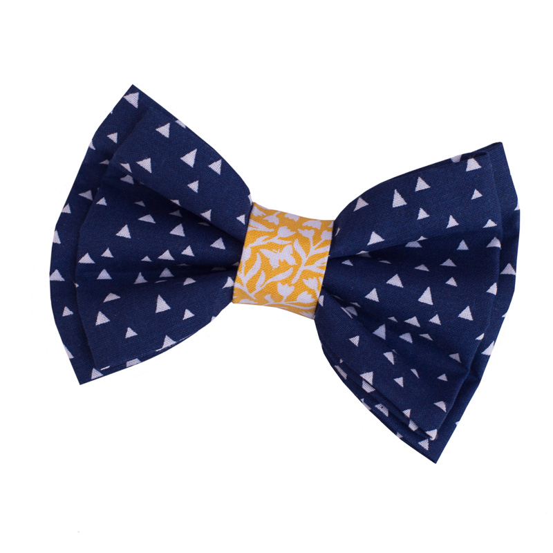 70958fc95a38 Navy Blue Yellow Double Bow Tie For Dogs By Furbulicious Pet Accessories