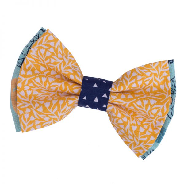 Furbulicious Pet Dog Accessories Bow Tie Blue Forest Yellow