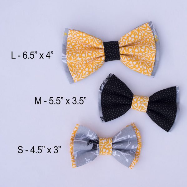 Furbulicious Pet Dog Accessories Bow Tie Birdie Black Yellow