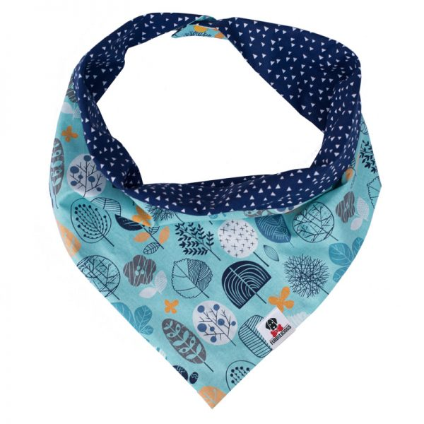 Furbulicious Pet Dog Accessories Snap Bandana Blue Forest