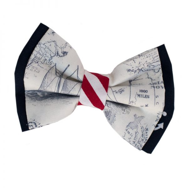 Furbulicious Pet Dog Accessories Bow Tie Naval Map