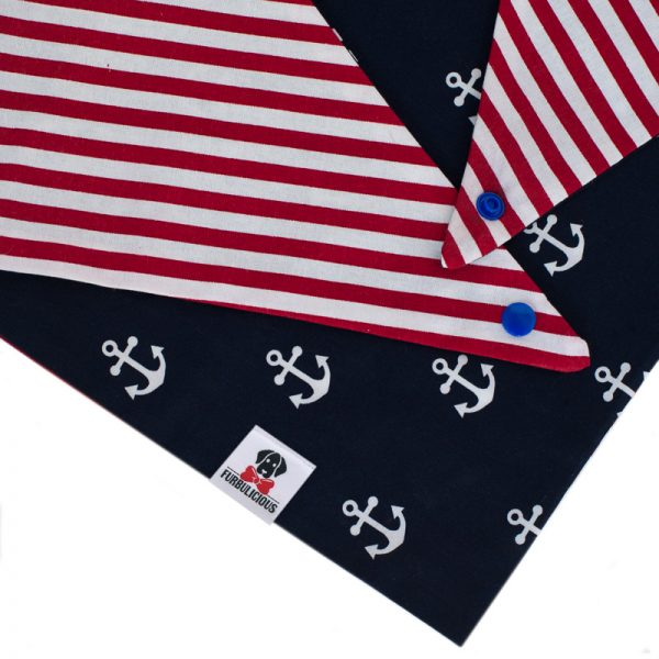 Furbulicious Pet Dog Accessories bandana Naval Collection Red and White stripes