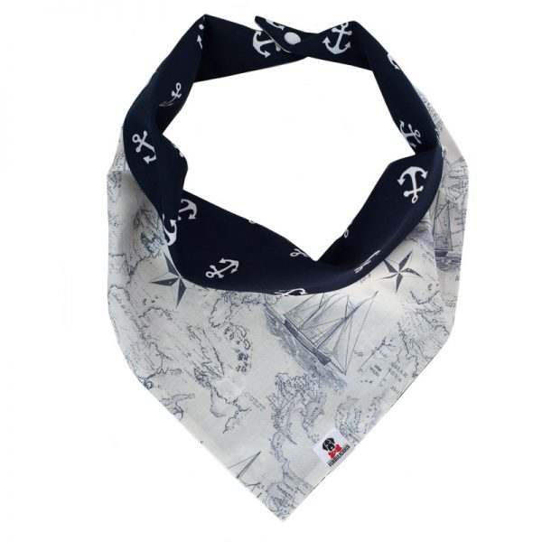 Furbulicious Pet Dog Accessories bandana Naval Collection Map