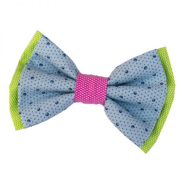 Furbulicious Pink Green Blue Polka Dot Summer Fun Pet Dog Bow Tie Snap