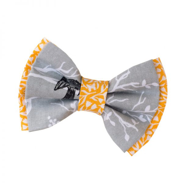 Furbulicious Pet Dog Accessories Bow Tie Birdie Yellow Grey
