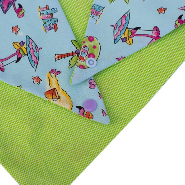 Furbulicious Pet Dog Bandana in Green and Blue with Flamingo