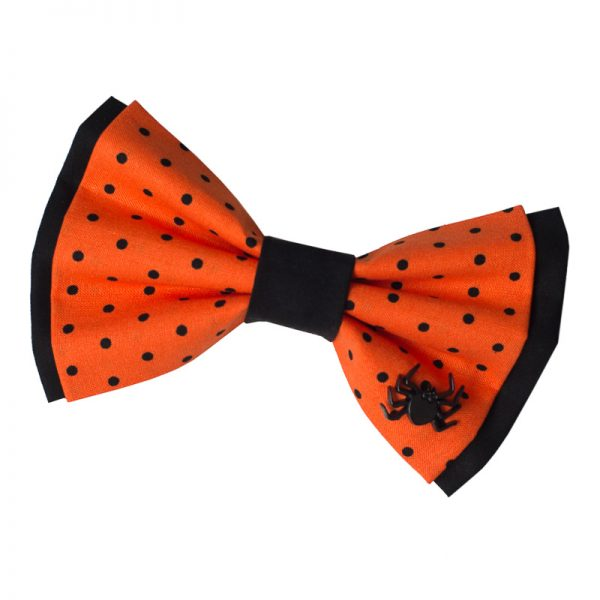 Furbulicious Pet Dog Accessories Halloween Collection Orange Bow Tie