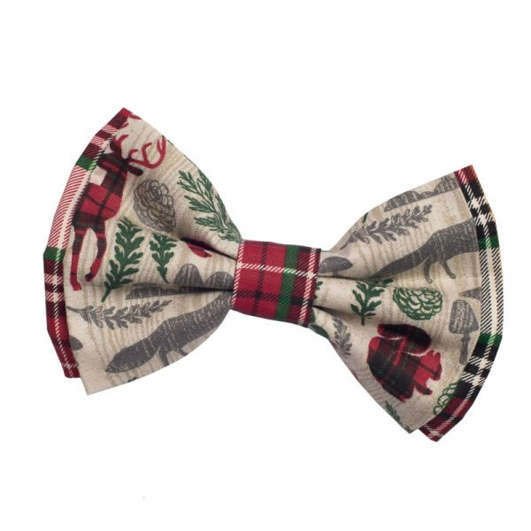 Furbulicious Pet Winter Forest Red and Green Plaid Bow Tie for Dogs