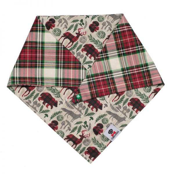 Furbulicious Pet Winter Forrest Reversible Bandana with Plaid Design