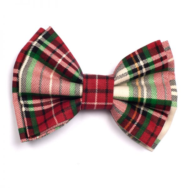 Furbulicious Pet Red and Green Plaid Bow Tie for Dogs