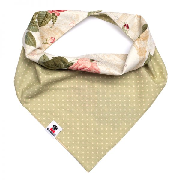 Furbulicious Pet Vintage Paris Reversible Bandana with Roses and Polka Dot for dogs and cats