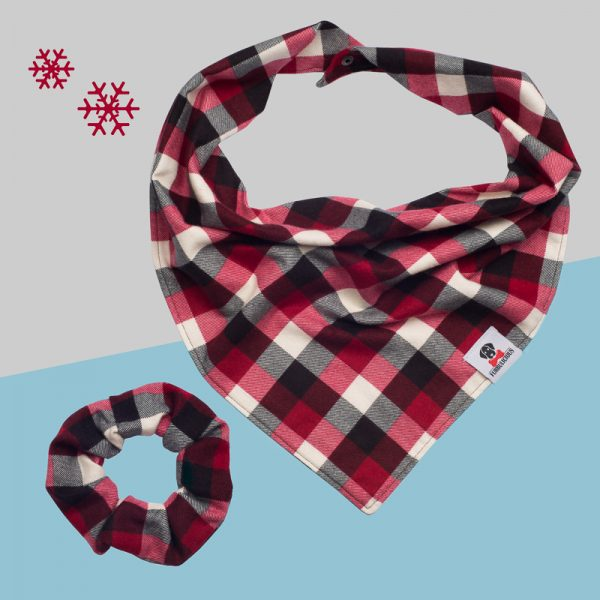 Furbulicious Match Your Pet Set: Matching Bandana and Scrunchie Christmas Plaid Red and Grey