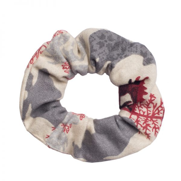 Furbulicious Match Your Pet Set: Matching Bandana and Scrunchie Christmas Reindeer Red and Grey
