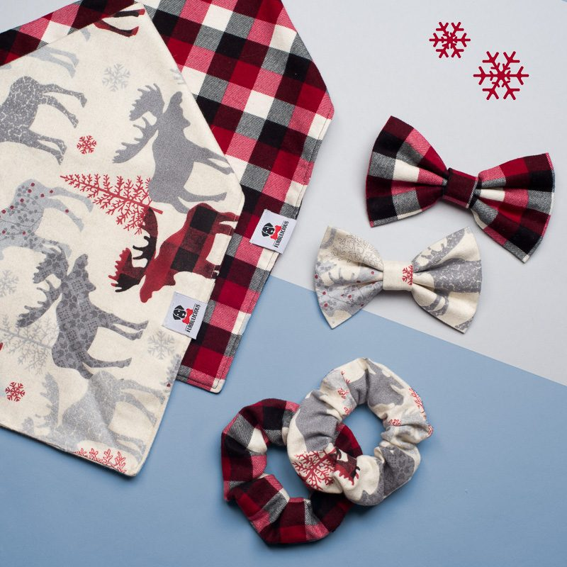 Furbulicious Pet Christmas Flannel Bandana and Bow Tie Collection.