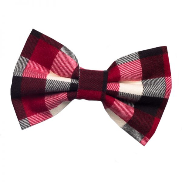Furbulicious Match Your Pet Set: Matching Bandana and Hair Bow Christmas Plaid Red and Grey